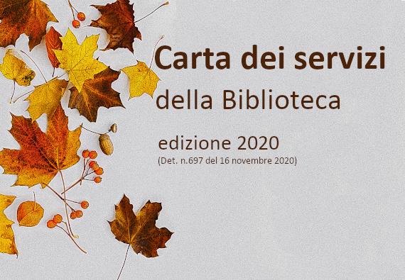 Carta dei servizi della Biblioteca https://www.assemblea.emr.it/biblioteca/la-biblioteca/servizi/carta-servizi/carta-dei-servizi