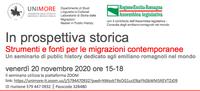 IN PROSPETTIVA STORICA, Strumenti e Fonti per le migrazioni contemporanee