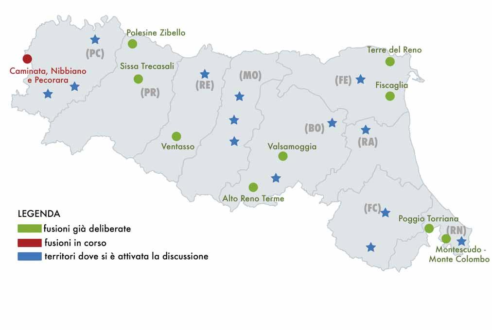 Cartina Comuni Emilia Romagna.Mappa Delle Fusioni Passato Presente E Futuro Assemblea
